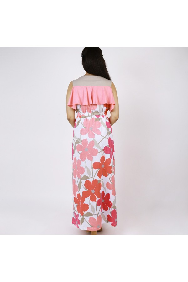 فستان دون أكمام بطبعات زهور و خصر مطاطي