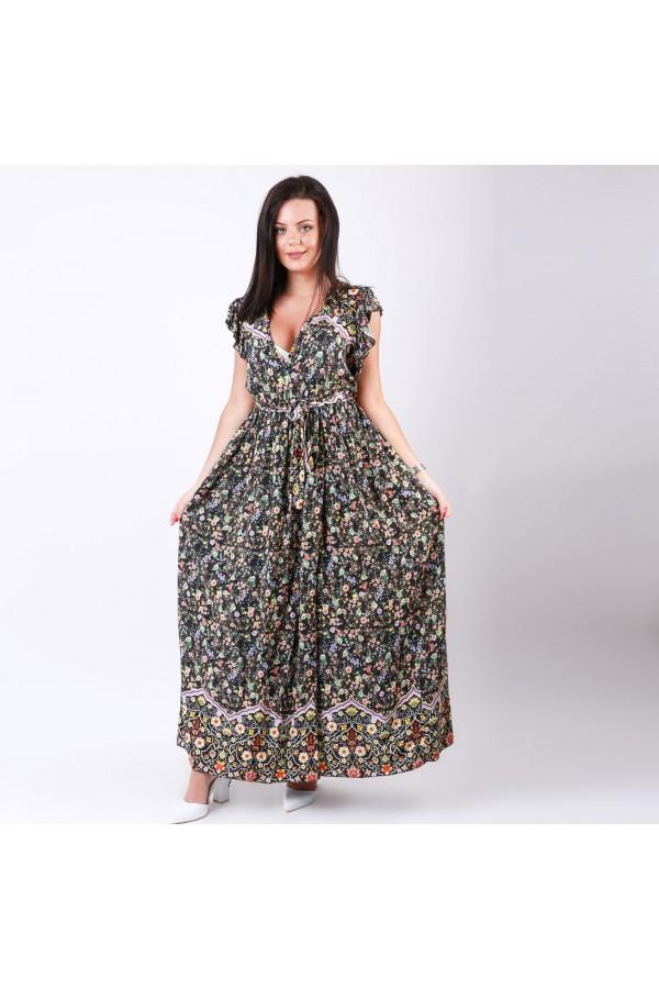 فستان طويل مزخرف بحزام وأكمام كشكش