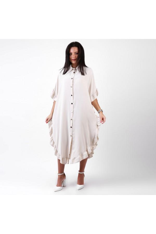 فستان ميدي بأكمام قصيرة مزين بأطراف كشكش