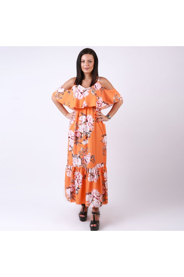 فستان طويل بأكتاف مكشوفة وطبعات زهور