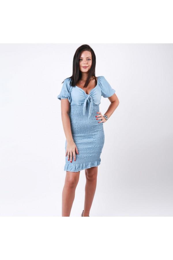 فستان قصير بأكمام منفوخه وتفاصيل مطاط