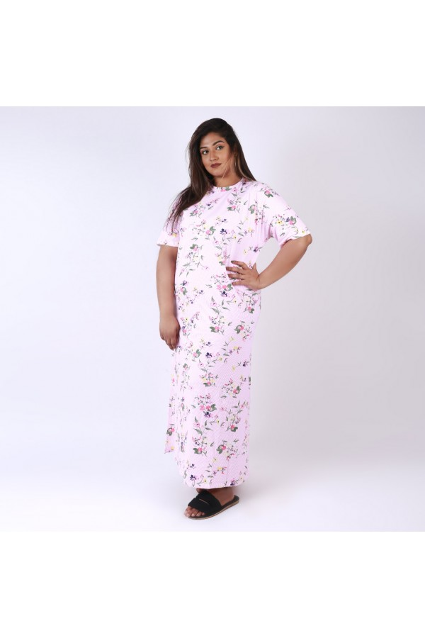 قميص طويل بياقة ضيقة و أكمام قصيرة