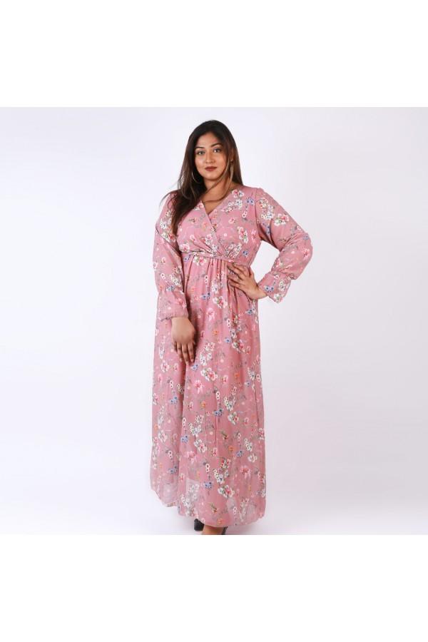 فستان طويل لف بطبعات زهور