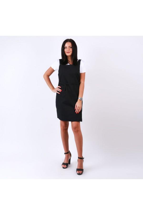 فستان قصير  بأزرار جانبية و حزام ربط