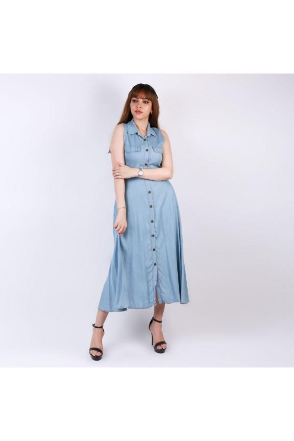 فستان جينز دون أكمام بياقة وأزرار