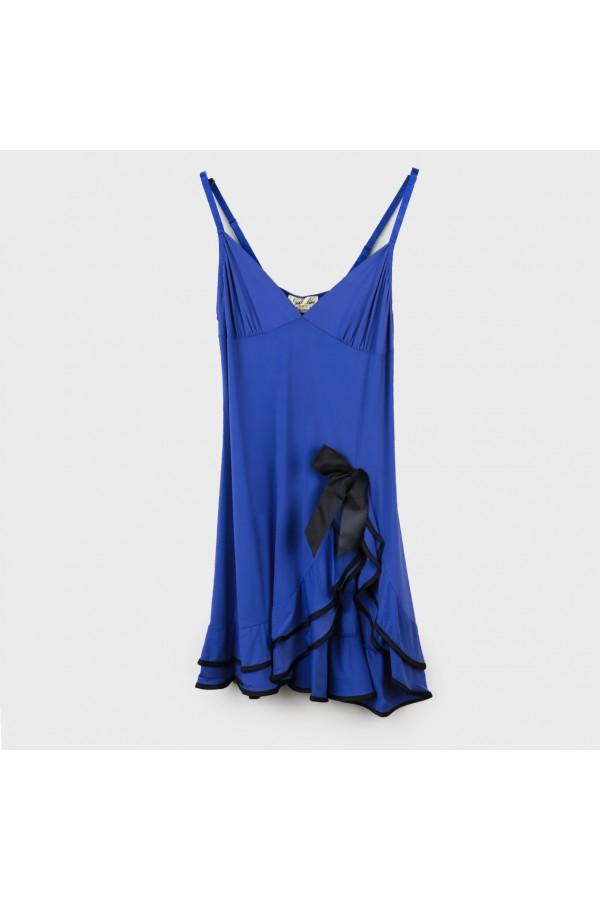 قميص قصير بفتحة جانبية مزين بفيونكة