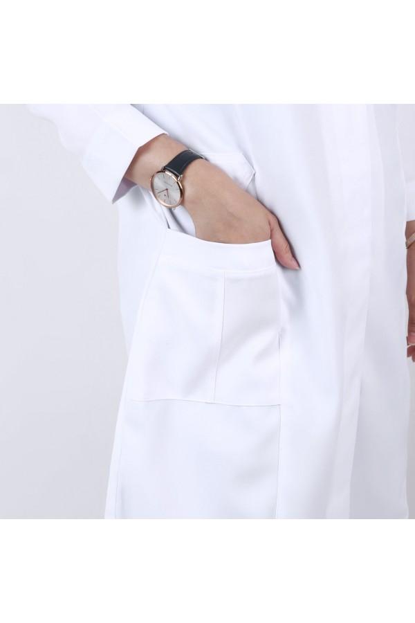 بالطو طبي متوسط الطول بأكمام طويلة