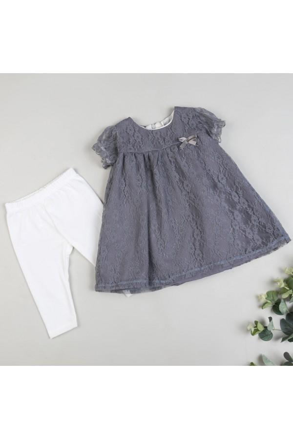 فستان دانتيل بأكمام شفافه - 2 قطع