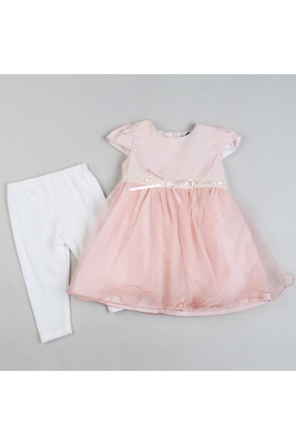 فستان بأكمام قصيرة وتفاصيل تل - 2 قطع
