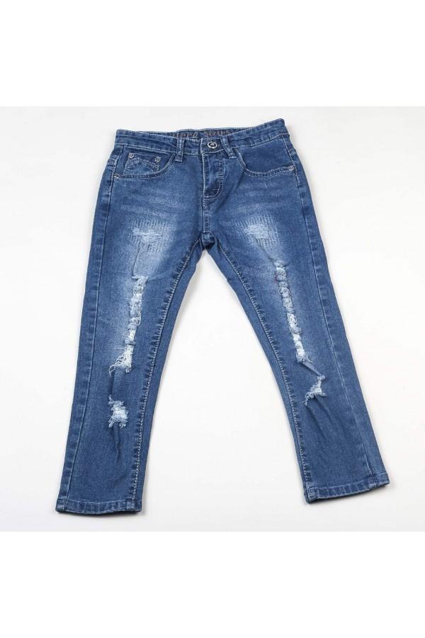 بنطلون جينز  طويل بأزرار إغلاق