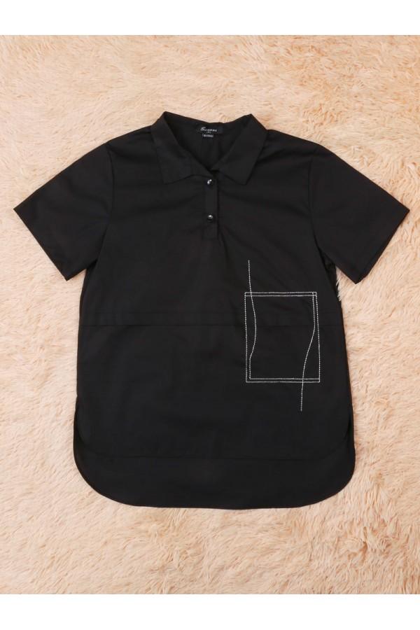 قميص طويل  بأكمام قصيرة و أزرار إغلاق