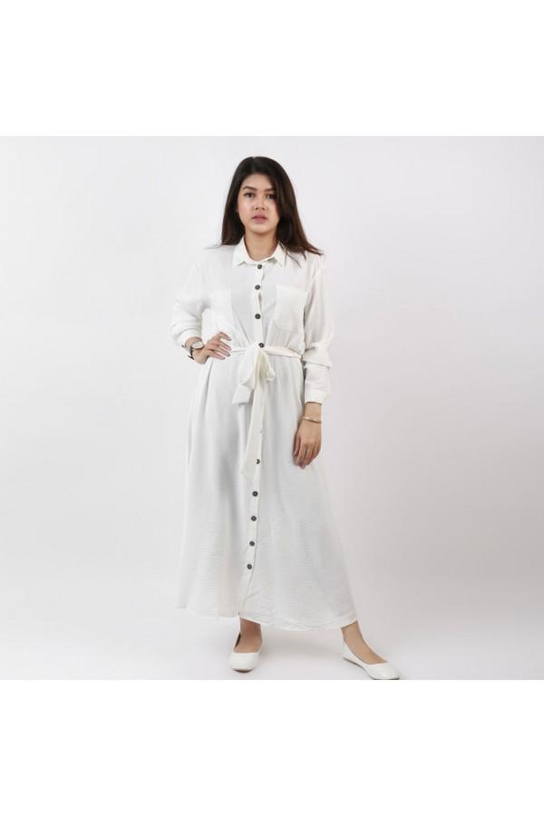 فستان  بأزرار و أكمام طويلة مع حزام ربط