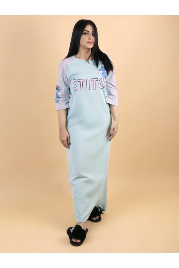 قميص طويل باكمام متوسطة الطول مع طبعات كتابة