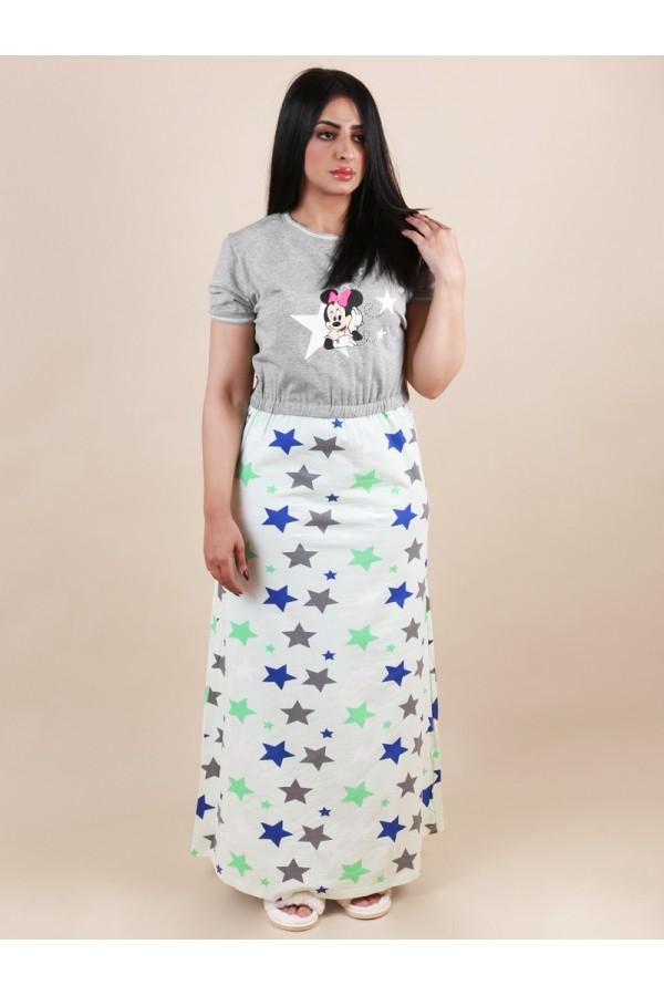 قميص طويل بخصر مطاطي وطبعات نجوم