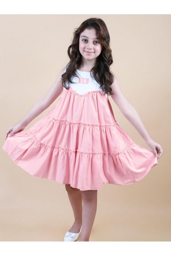 فستان قصير  طبقات دون اكمام