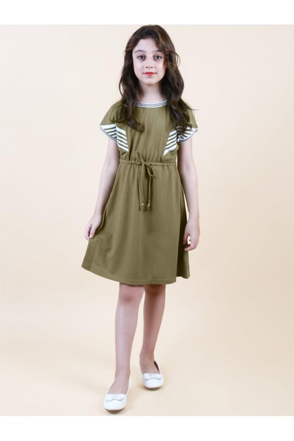 فستان قصير بأكمام قصيرة و حزام ربط