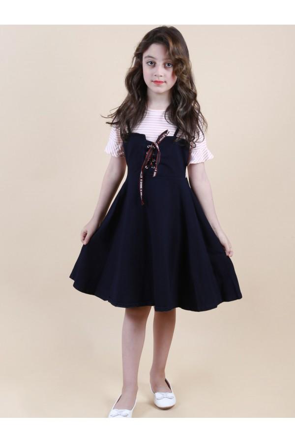 فستان بحمالات رفيعة مع بلوزة مخططة