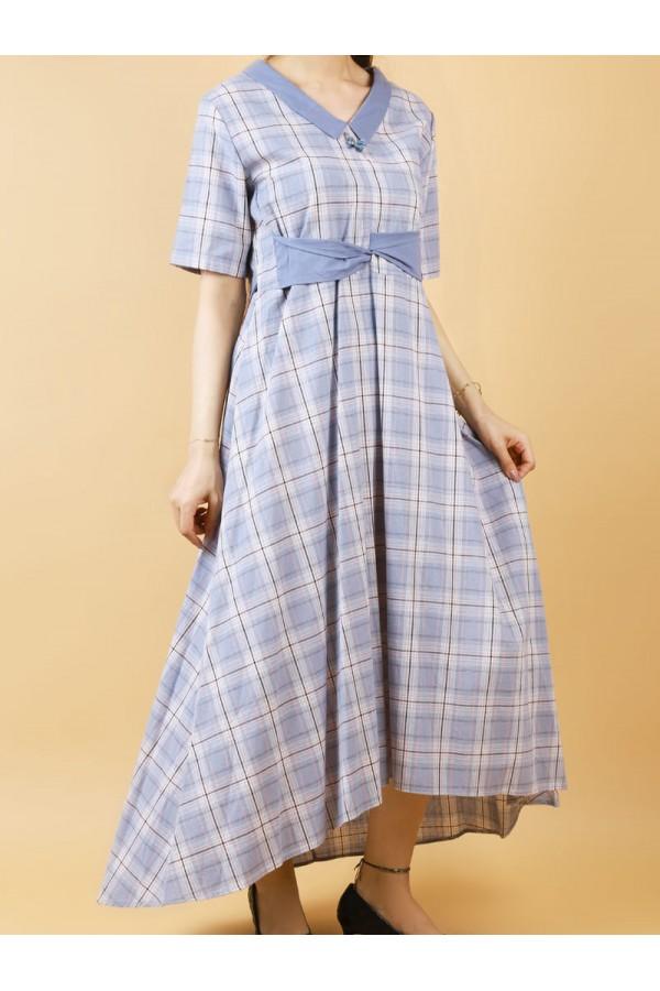 فستان كاروهات بأكمام متوسطة الطول