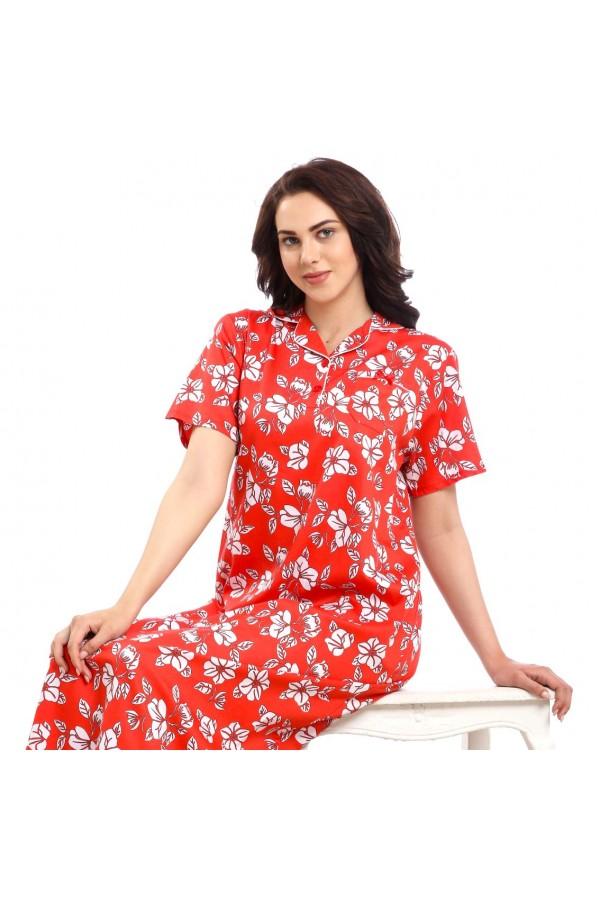 قميص طويل مزخرف بطبعات زهور