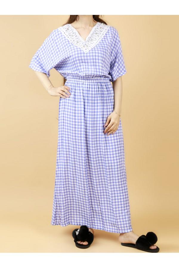فستان كاروهات بخصر مطاطي و أكمام متوسطة الطول