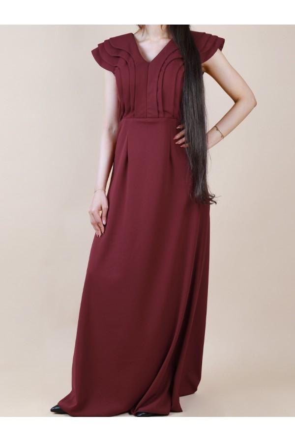 فستان طويل ساده  بياقة