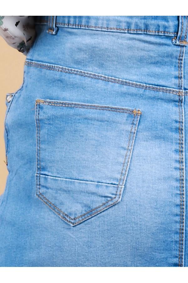 تنورة جينز طويلة بأزرار  إغلاق