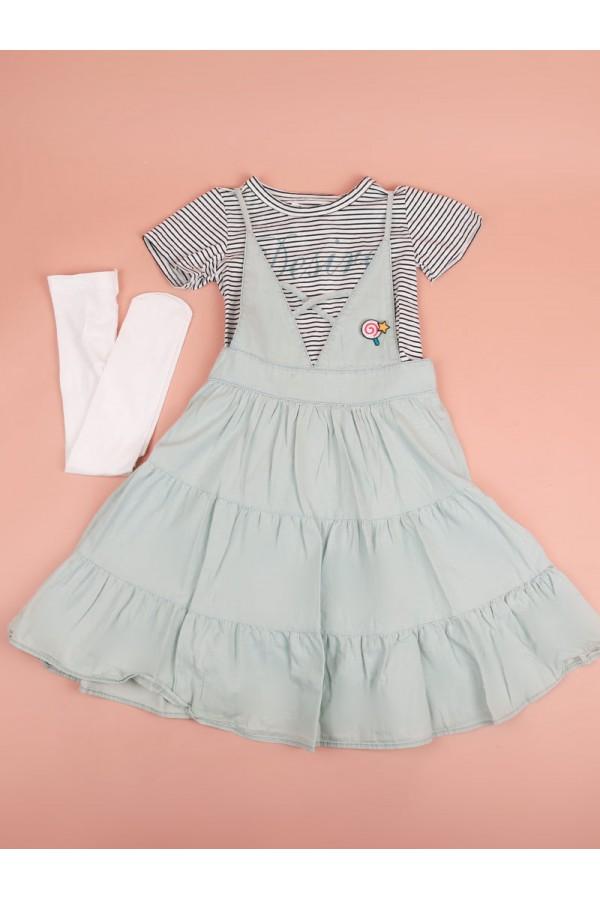 فستان طبقات مع تيشيرت مخطط بأكمام قصيرة