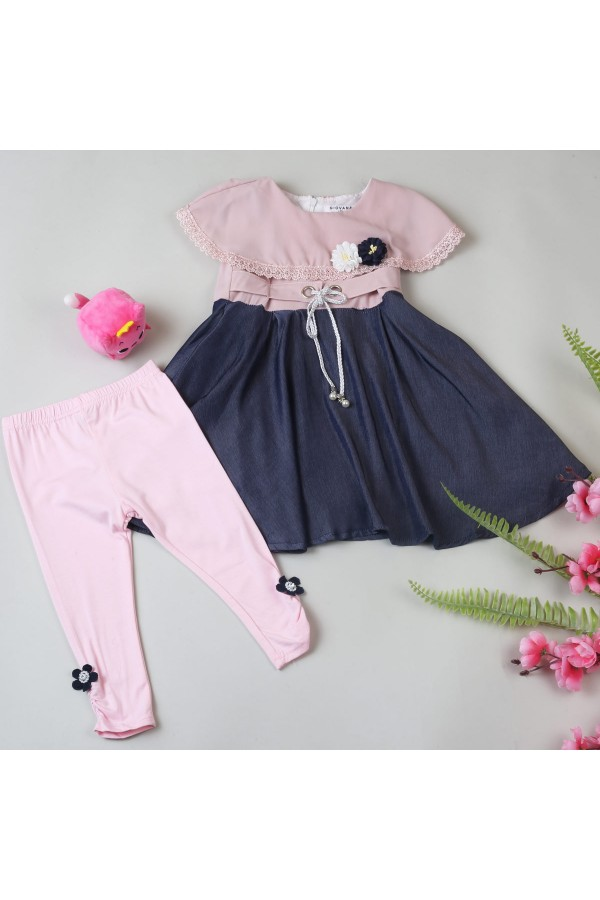 فستان بناتي مزين بالزهور - قطعتين