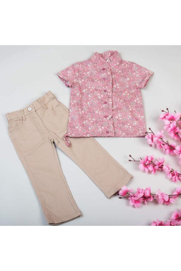 قميص مزين بالزهور مع بنطلون ساده