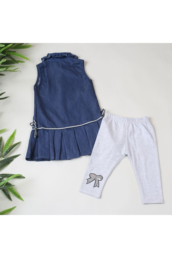 فستان جينز دون أكمام وياقة كشكش - قطعتين