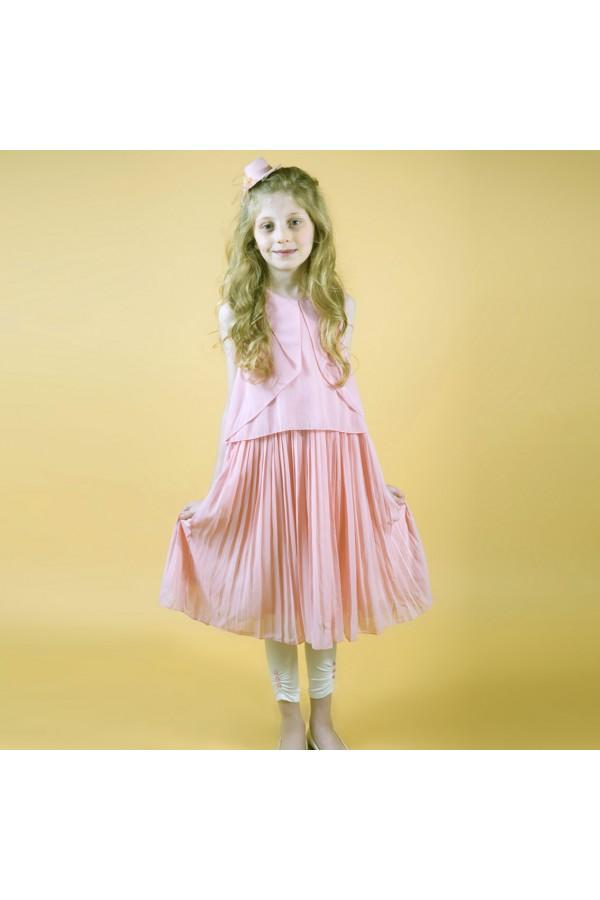فستان ميدي دون أكمام مزين بكسرات وبنطلون