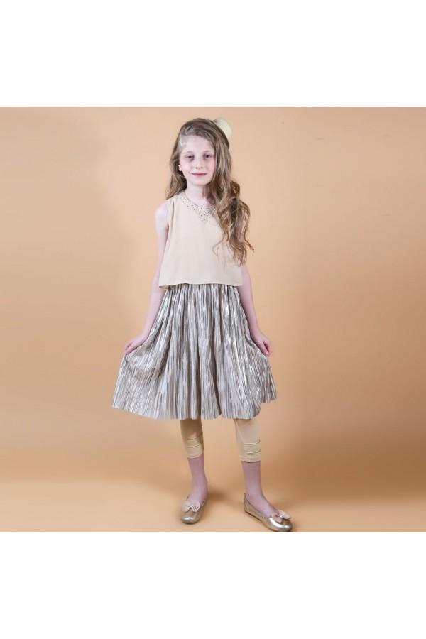 فستان دون أكمام بتفاصيل كسرات مع بنطلون ليجنز