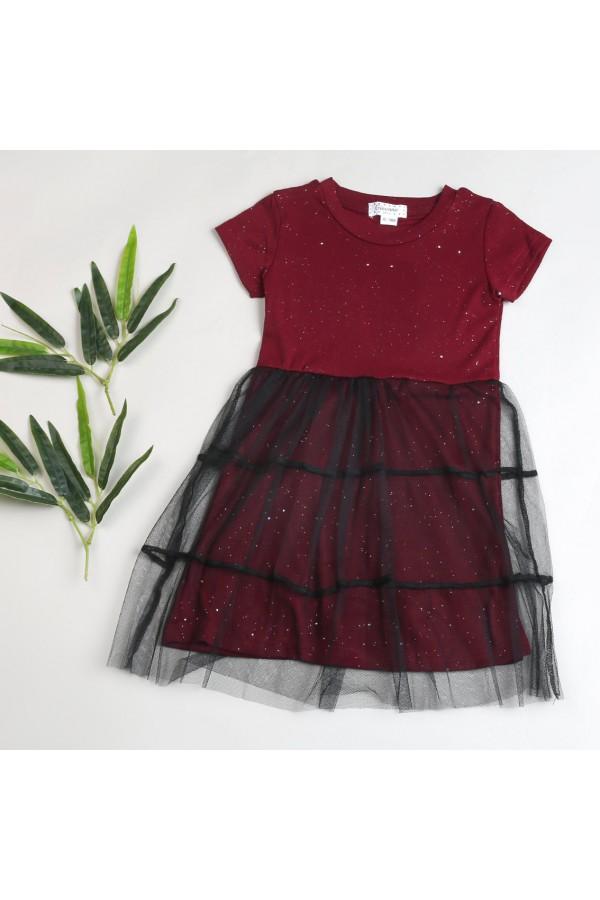 فستان لامع بياقة مستديرة و تفاصيل تل
