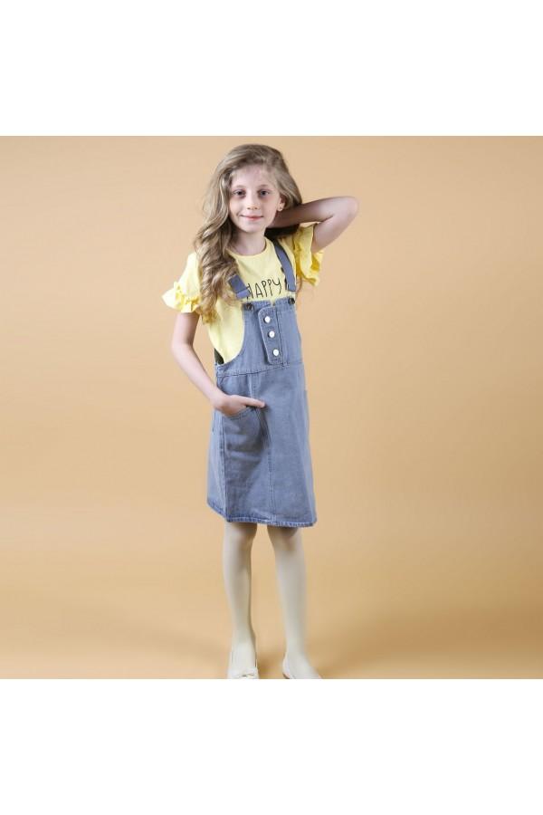 افرول جينز مع تيشيرت بأكمام كشكش - 3 قطع
