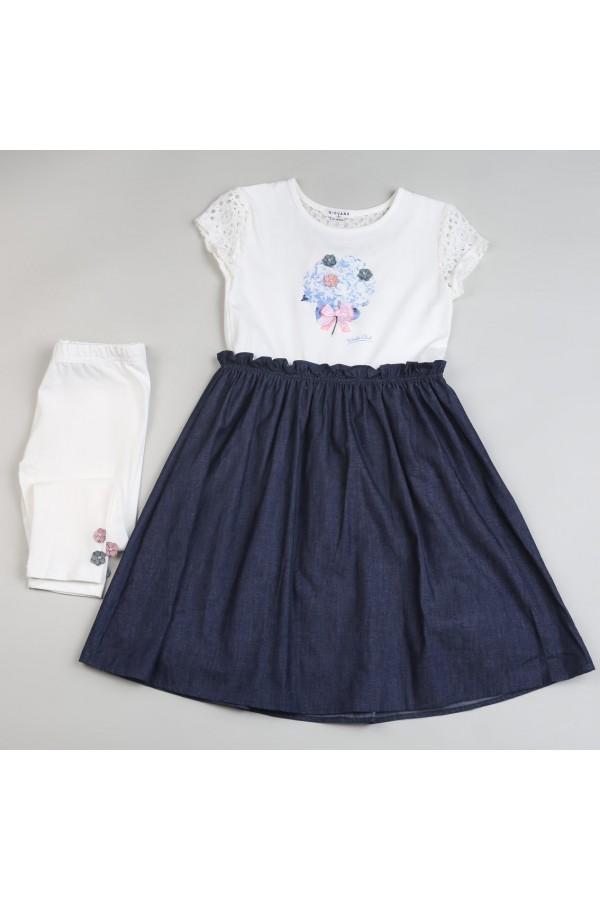 فستان بياقة مستديرة وأكمام قصيرة مفرغة - 2 قطع