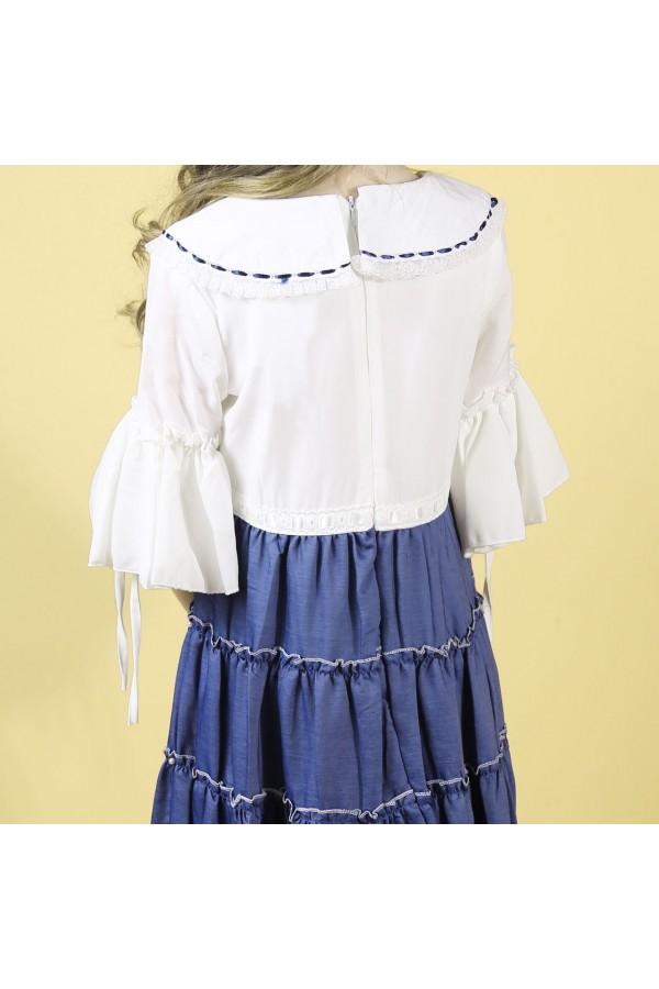 فستان طبقات بأكمام بقصة واسعة