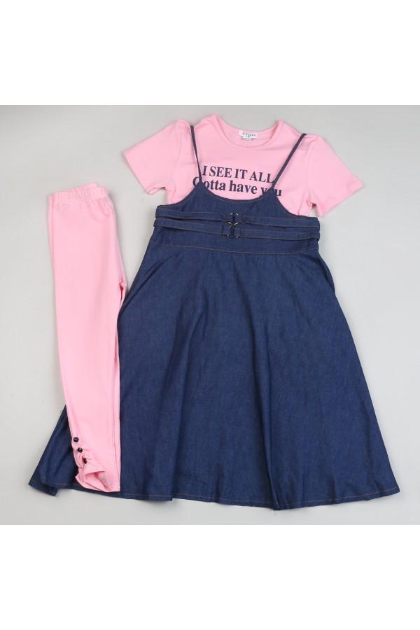 فستان جينز حمالات مع تيشيرت وبنطلون ليجنز - 3 قطع