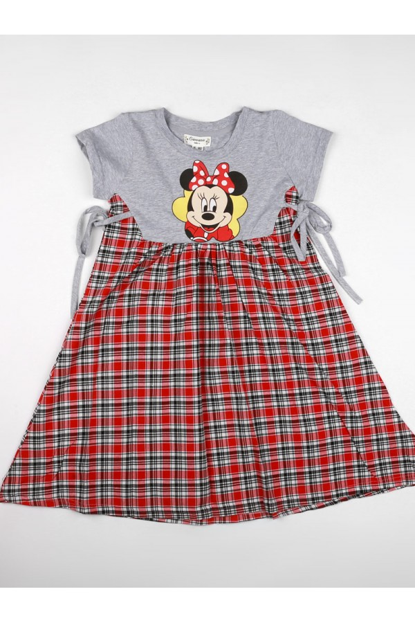 فستان كاروهات مزين بطبعات ميكي ماوس