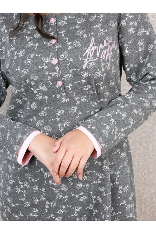 قميص شتوي قصير بطبعات زهور
