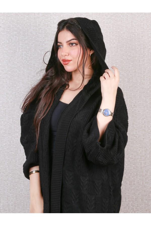 عباية شتوي بارزة الملمس مع قبعة