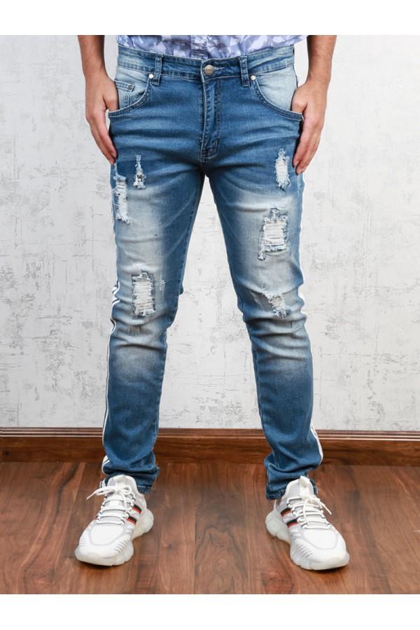 بنطلون جينز بخط جانبي  مع جيوب و ازرار إغلاق