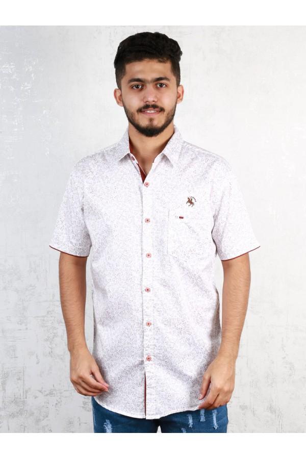 قميص مزخرف بأكمام قصيرة وياقة