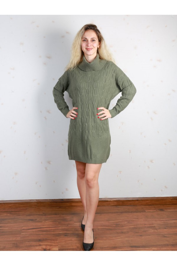 فستان قصير بارز الملمس بأكمام طويلة