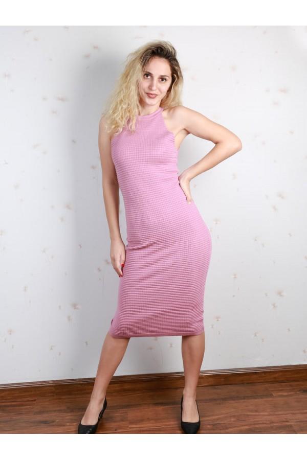 فستان ميدي بارز الملمس دون أكمام بياقة ضيقة