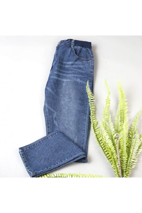 بنطلون جينز بخصر مطاطي