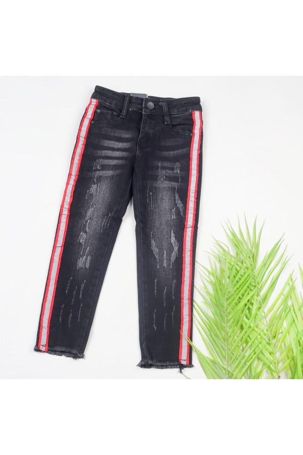 بنطلون جينز بخط جانبي وجيوب