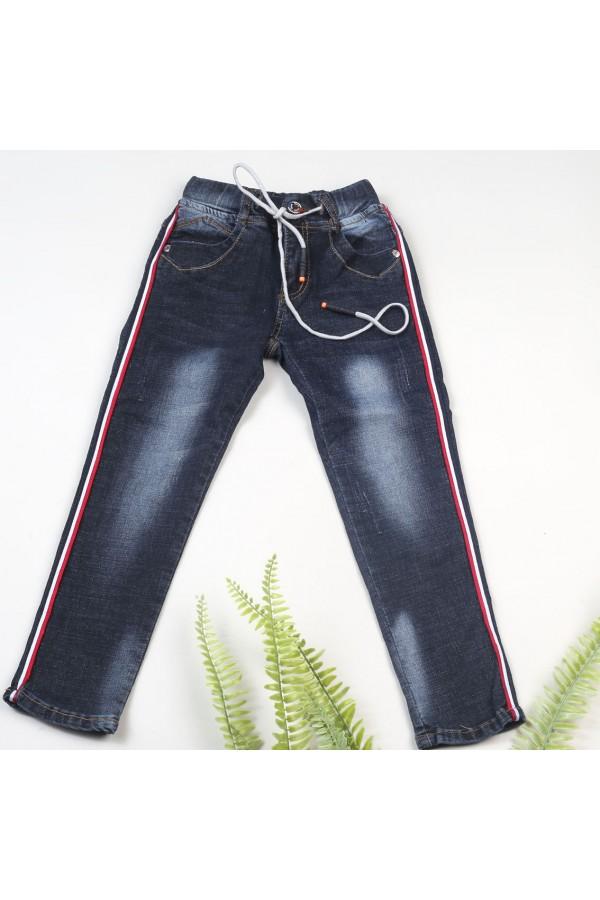 بنطلون جينز مقلم بحزام ربط