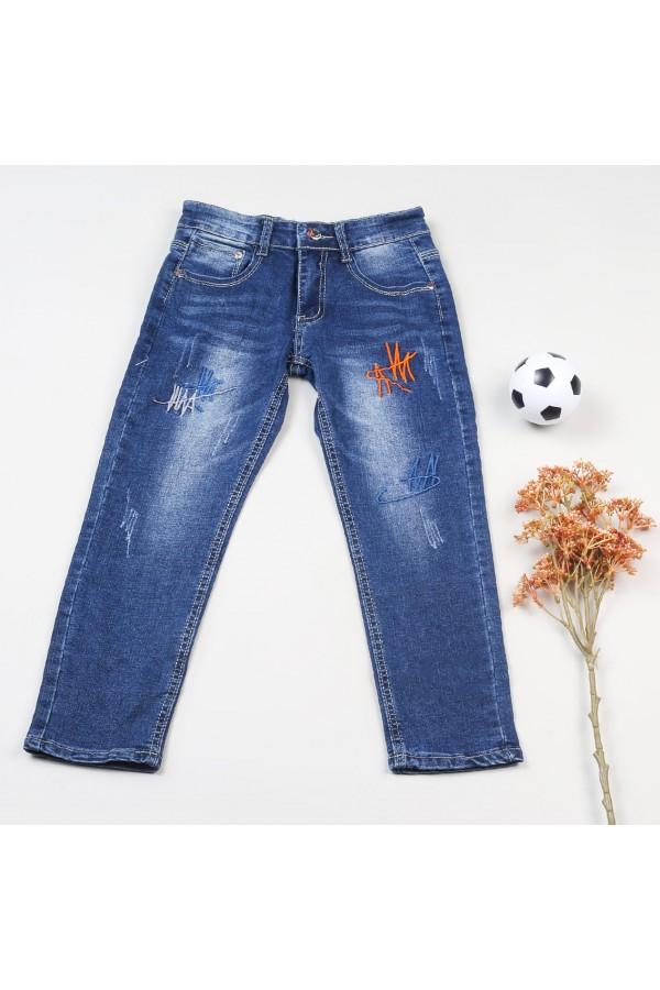 بنطلون جينز طويل مزخرف