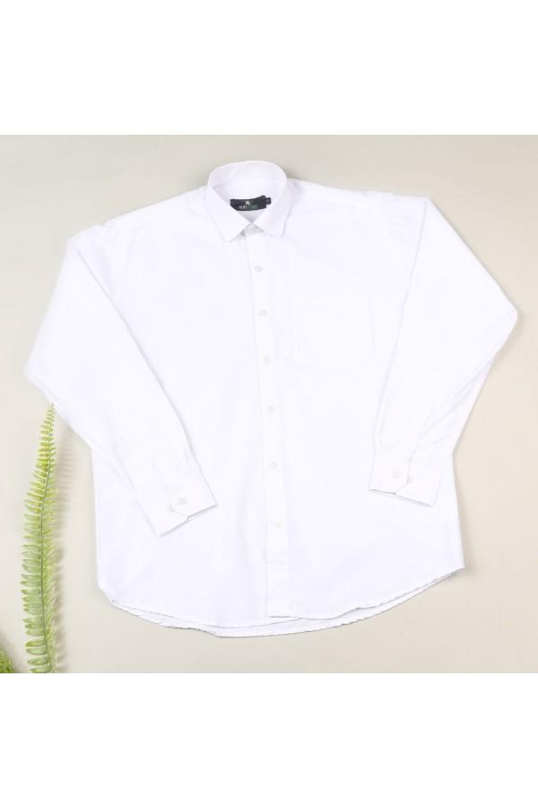 قميص سادة بياقة عادية وأكمام طويلة