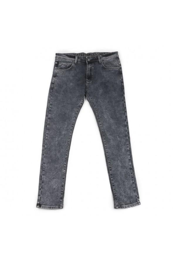 بنطلون جينز سادة سكيني بخصر متوسّط الإرتفاع
